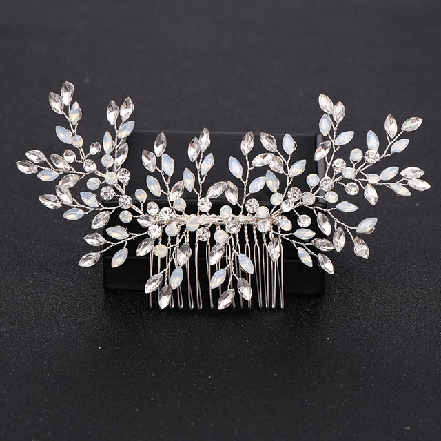 Silver Color Pearl Crystal Wedding Hair Combs Hair Accessories for Bridal Flower Headpiece Women Bride Hair ornaments Jewelry 2