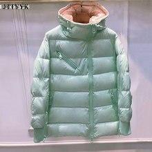 Brand Oblique Zipper Short Black Puffer Jacket Winter Women White Duck Down Coat Fashion Hooded Snow Coat Feather Puffer Parkas