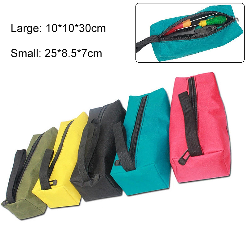 1.5L Oxford Canvas Waterproof Storage Hand Tool Bag Screws Nails Drill Bit Metal Parts Fishing Travel Makeup Organizer Bag Case
