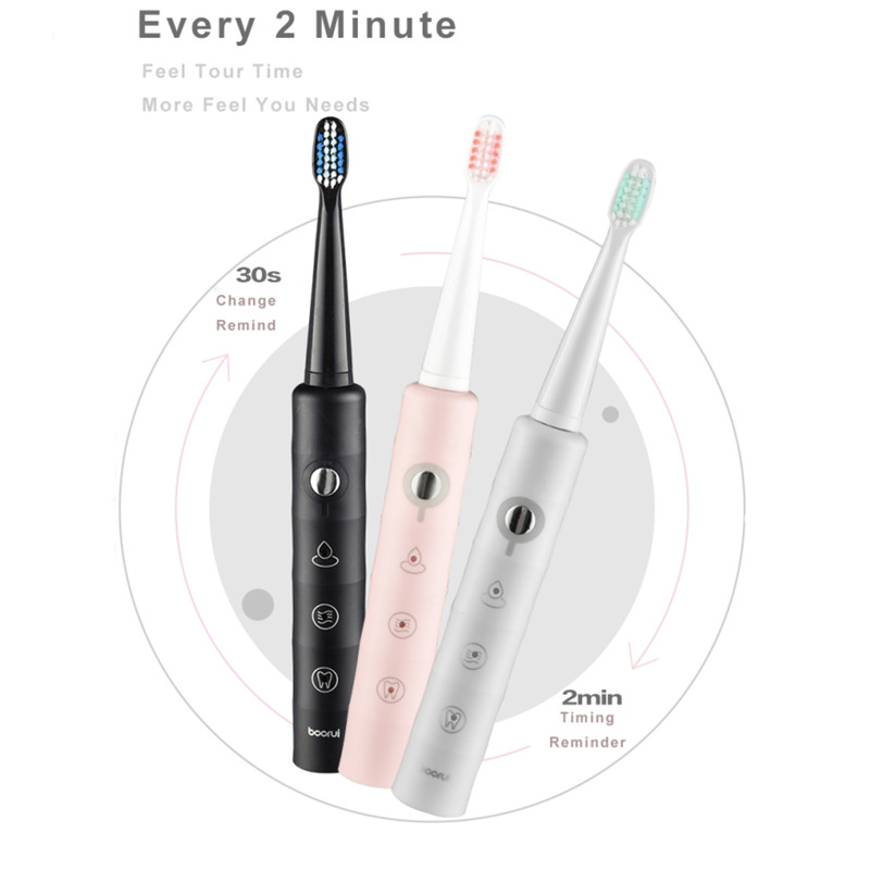 Electric Toothbrush Sonic Wave Rechargeable Travel Case Smart Chip Toothbrush Head Replaceable Teeth Whitening Brush Gift !