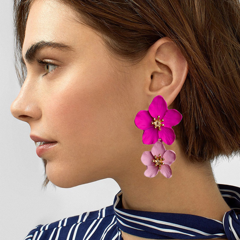 2019 New Design Fashion Jewelry Big Double Flower Mixed Color Earrings For Women Summer Style Party Wedding Exaggerated Earrings