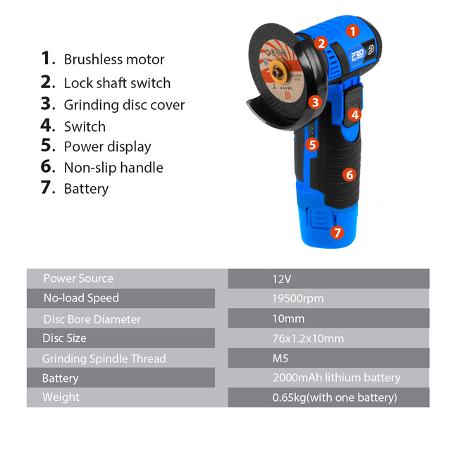 12V Mini Brushless Angle Grinder Cordless Polishing Grinding Machine 2.0mAh 19500RPM Electric Power Tools for home by PROSTORMER 2