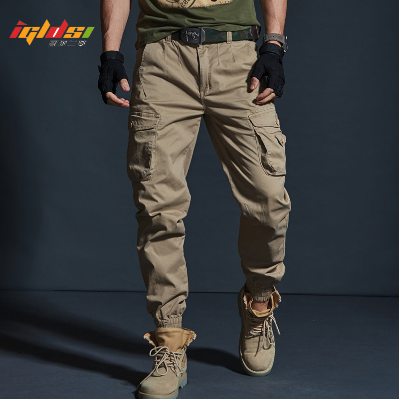 Мужские камуфляжные брюки-карго в стиле милитари, модные длинные брюки-карго с несколькими карманами, черные повседневные брюки-карандаш