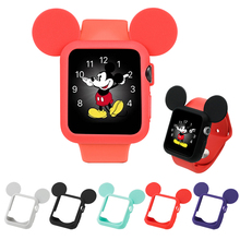 Lovely Mickey Silicone Band Case For Apple Watch Case Series 4 44/40mm Soft Cartoon Protective Cover For iWatch 3 2 1 38mm 42mm стоимость