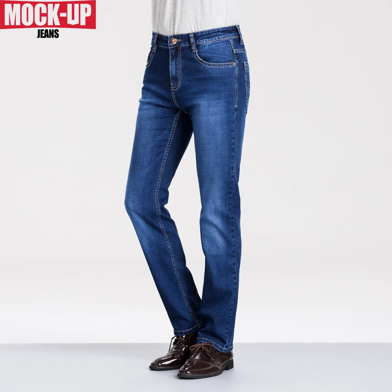 Genuine Mock Up Brand MP-Z806 Slim Jeans Man Blue Solid 100% Cotton Jeans Casual Full Length High Quality 2020 Fashion New Pants