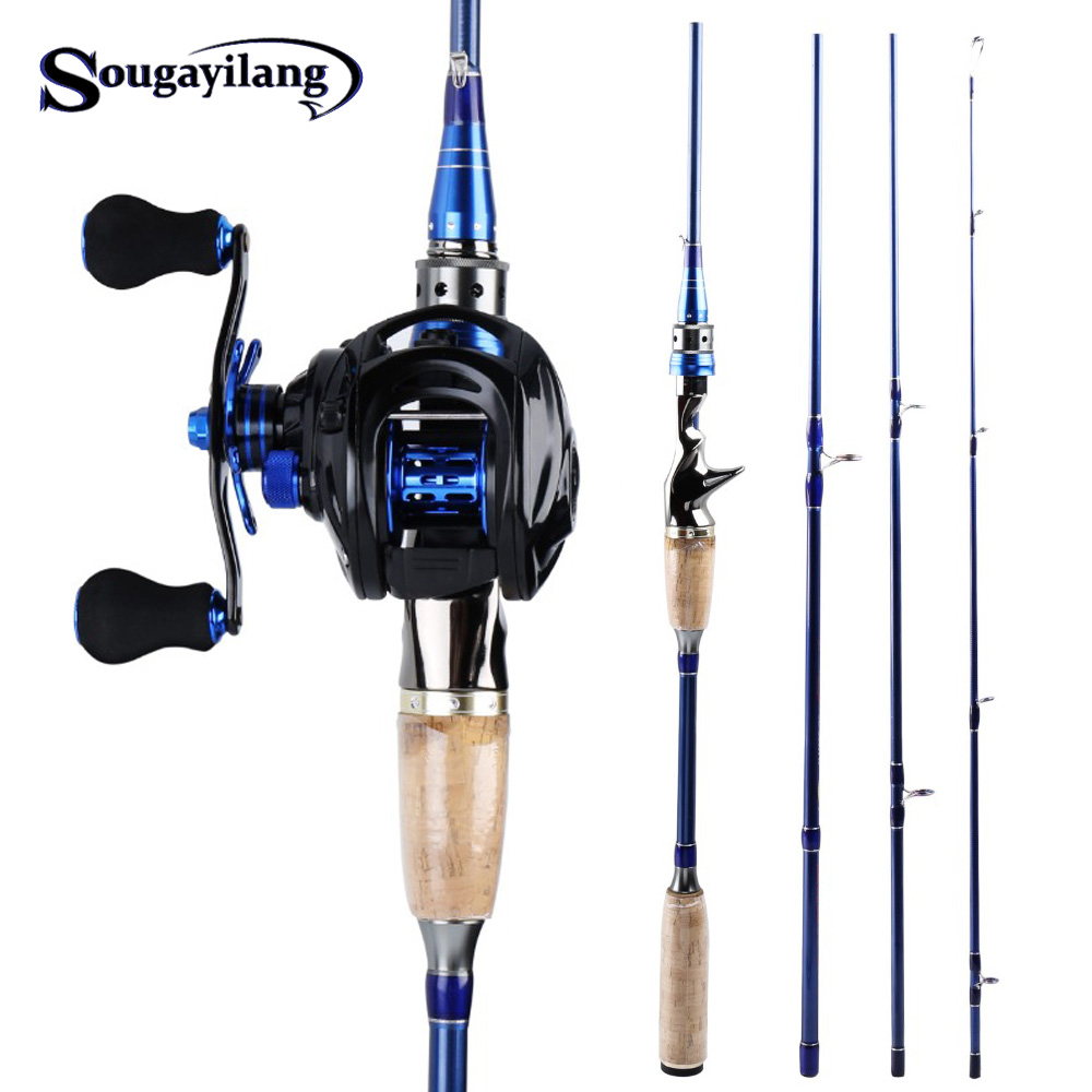 Sougayilang 2.1M2.4M Fishing Rod With Reel Combo Portable 4 Sections Carbon Fiber Fishing Rod And 7.0:1 High Speed Fishing Reel
