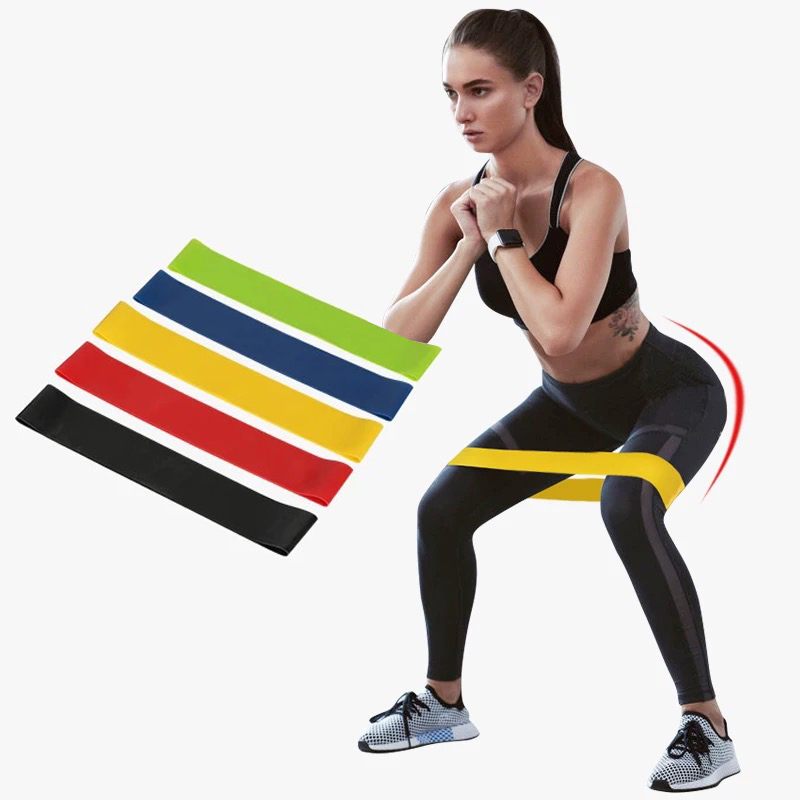 5PCS Yoga Fitness Resistance Bands Rubber Fitness Equipment 0.35mm-1.1mm Pilates Sport Training Workout Elastic Band Yoga Bands