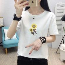Женская футболка с цветочной вышивкой лето 2020 новая размера