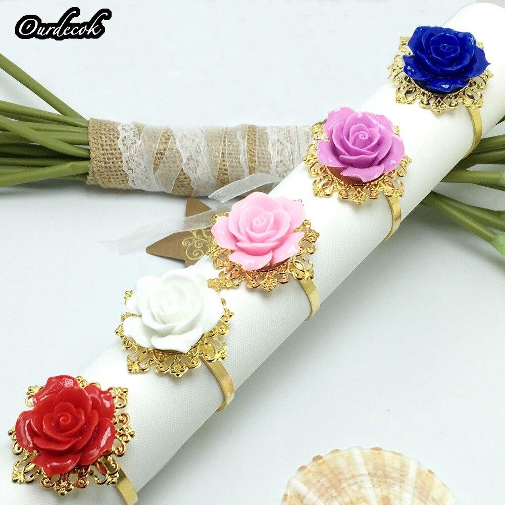 50pcs lot Rose Flower Decor Gold Napkin Ring Hoops Napkin Serviette Holder for Wedding Party Dinner