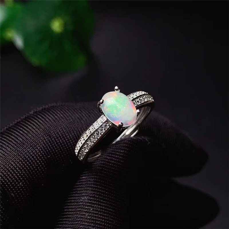 LeeChee 100% natural opal ring for girl birthday gift 6*8mm colorful gemstone fine jewelry Real 925 Solid Sterling Silver