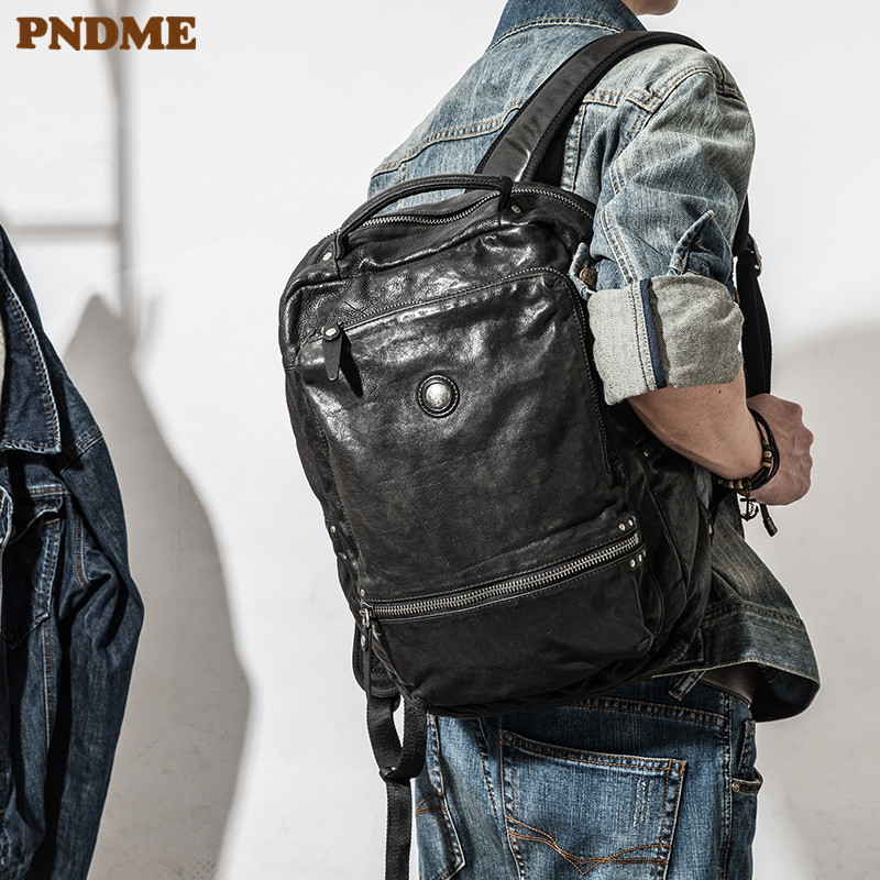 PNDME casual high quality genuine leather men's women's backpack designer soft cowhide luxury teens travel black laptop bagpack