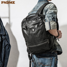 PNDME casual high quality genuine leather mens womens backpack designer soft cowhide luxury teens travel black laptop bagpack