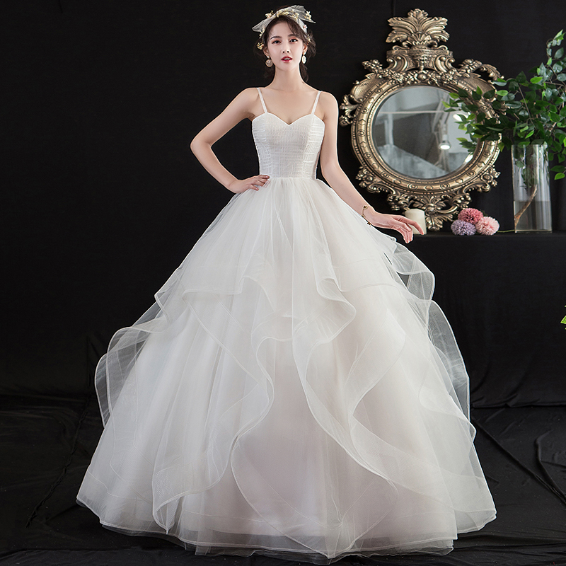 Mrs Win Wedding Dresses 2020 New Sexy V-neck Floor-length Lace Up Ball Gown Spaghetti Straps Wedding Gown Luxury Plus Size