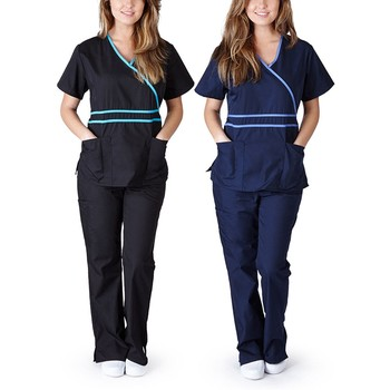 Protect Uniform Women Short Sleeve Traje Protector V-neck Tops+pants Nursing Working Uniform Set Suit Protection