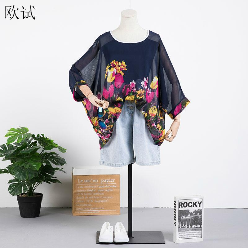 Plus Size Chiffon Floral T Shirt 2020 Summer Women Batwing Sleeve Flower Tshirt Oversize Ladies Tops 4XL 5XL 6XL Womens Tshirts image