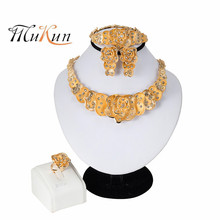 Wedding Jewelry Sets for Bride Dubai Gold Women Crystal Necklace Earrings Ring Bracelet Leaf Shape