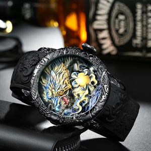Image 2 - MEGALITH Fashion Dragon Sculpture Watch Men Waterproof Big Dial Quartz Watch Luxury Emboss Men Watch Top Luxury Brand Clock 8041