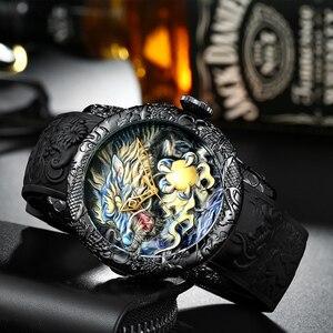 Image 2 - MEGALITH moda złoty smok rzeźby zegarek mężczyzn zegarek kwarcowy zegarek wodoodporny Big Dial zegarki sportowe mężczyźni oglądać najlepsze luksusowy zegar markowy