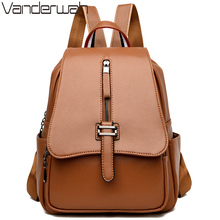 New Women Leather Backpack Female Shoulder Bag Sac A Dos Ladies Bagpack Vintage School Bags For Teenage Girls Travel Back Pack