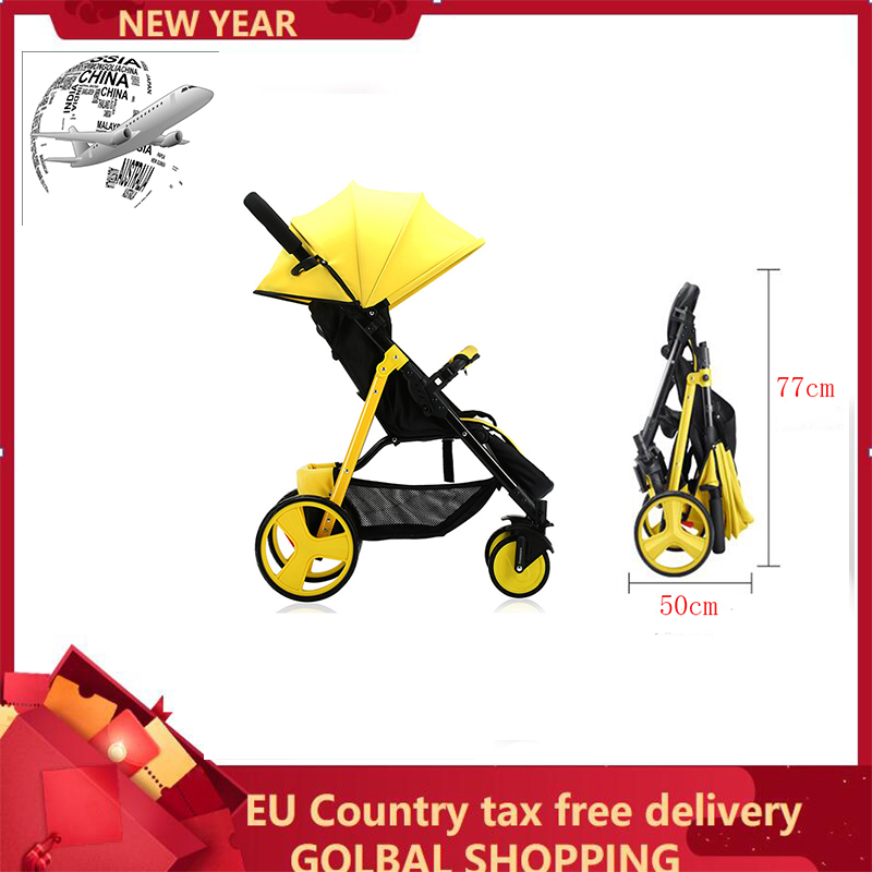 Lightweight folding baby stroller Can sit and recline shock four wheel portable pram EU Country Shipping By UPS Tax Free