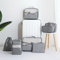 7pcs Travel Storage Pouch Waterproof Men Women's Clothes Shoes Underwear Cosmetic Organizer Zip Suitcase Tote Gear Accessories