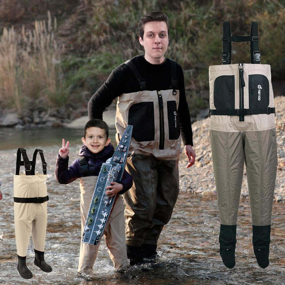 NeyGu kids chest wader for water and muddy playing child waterproof and breathable wader with boots toddler wader for fishing in Fishing Clothings from Sports Entertainment
