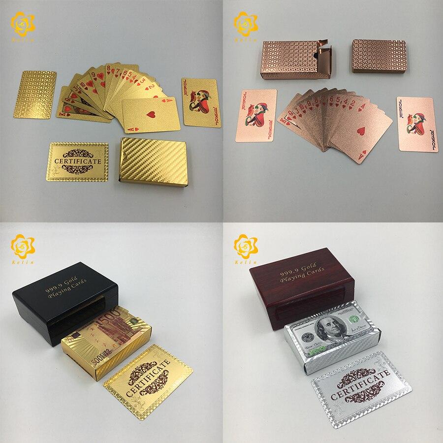 24K Gold/sliver Foil Spielkarten Poker farbige 100 USD oder Mosaik poker für werbe geschenke und spiel palying