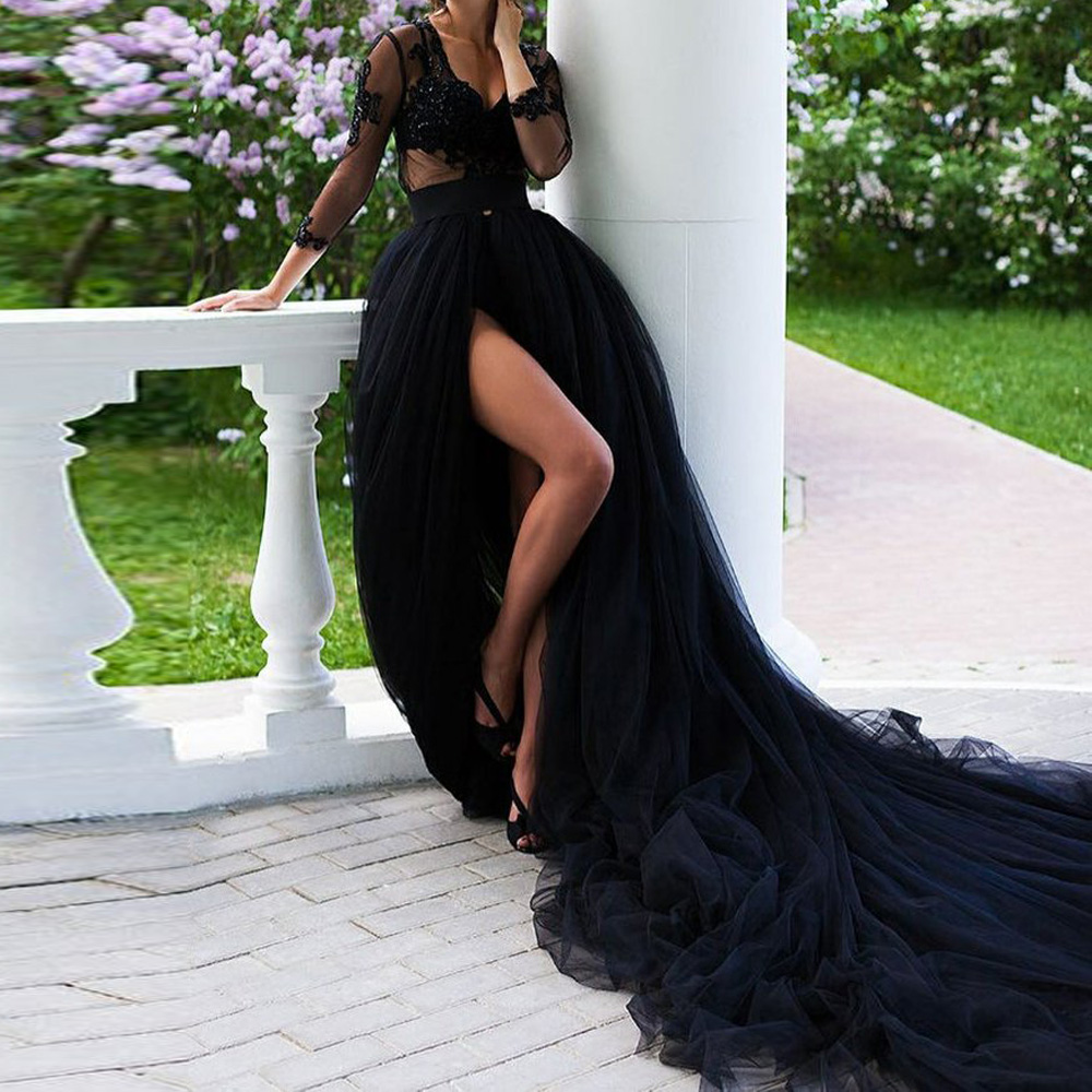 Dramatic Black Tulle Wedding Skirt With Long Train High Slit Women Maxi Skirt A Line Court Train Prom Gown Photo Shoot Skirts