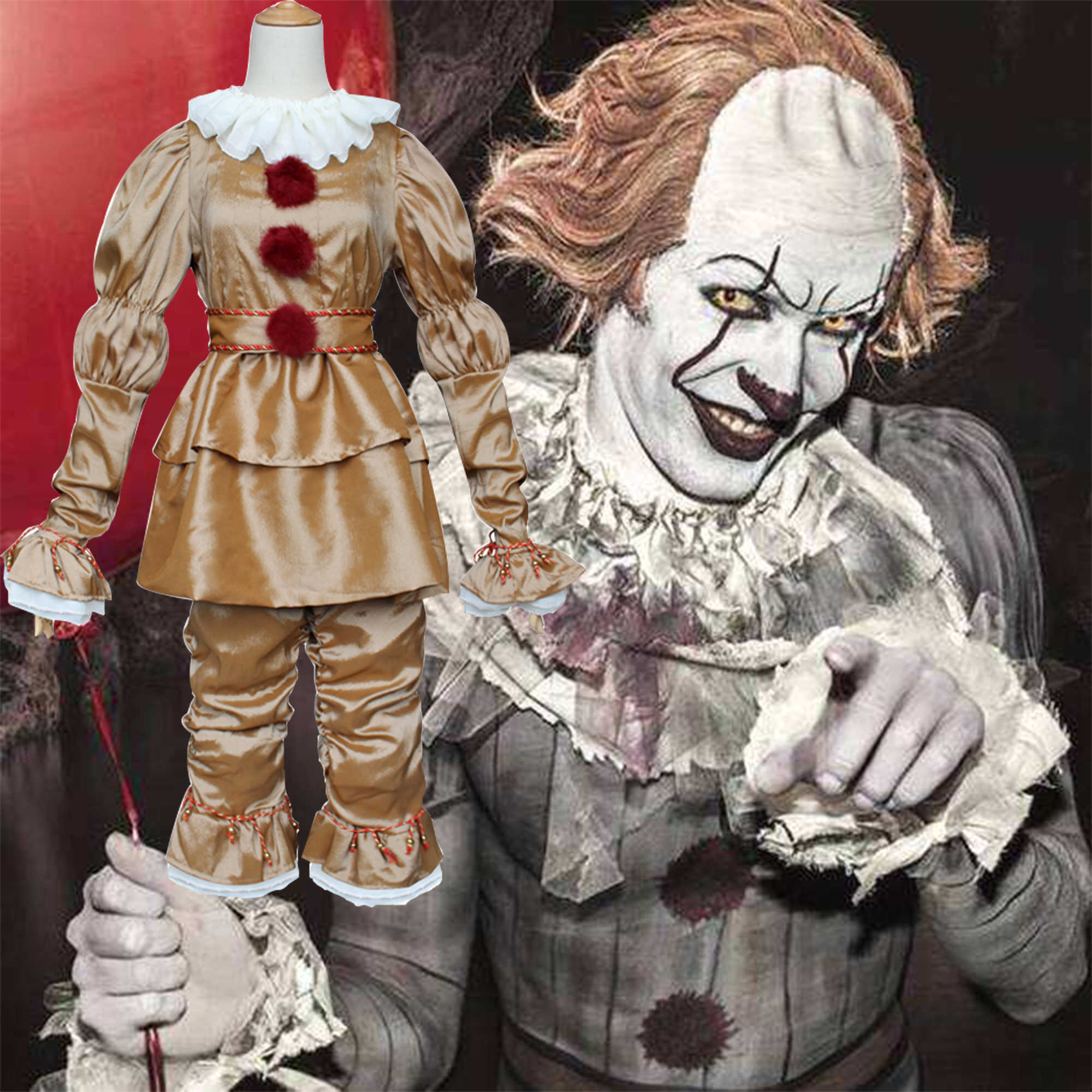 Film Joker Pennywise Cosplay Costume Cos Maschera di Stephen King Si Capitolo Horror Clown Festa di Halloween Costumeen Costume Party Prop