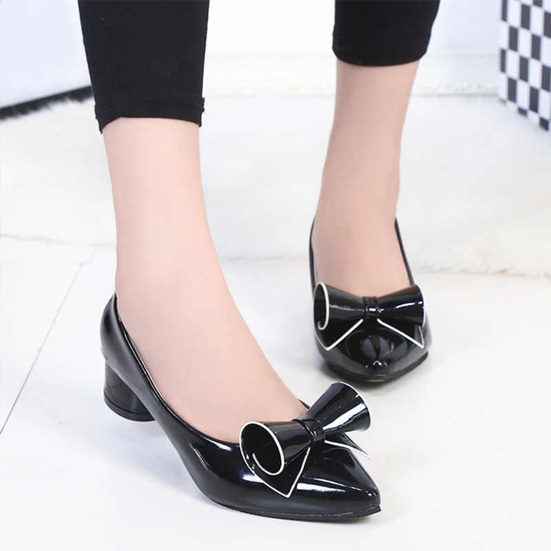 Vrouwen Lage Hak Schoenen Vrouwelijke Lente Leather Puntschoen Pompen Vrouw Hoge Boog Slip Op Kleding Schoenen Dames Mode Platform schoenen