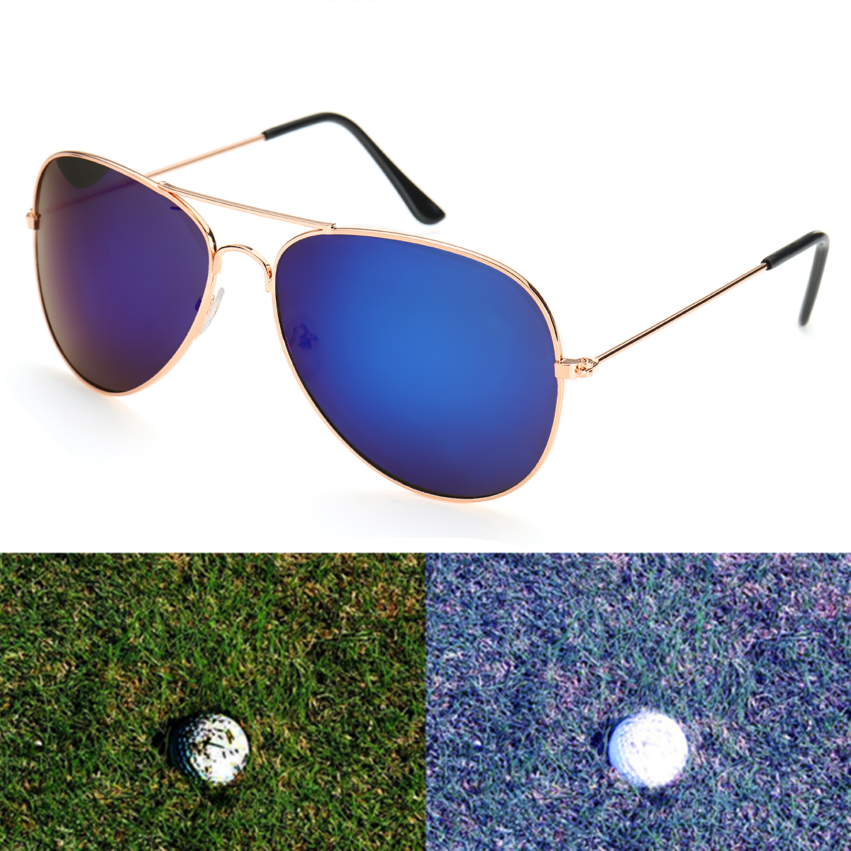 Men Retro Sunglasses Fishing Golf Ball Finder Glasses Eye Protection Golf Accessories Blue Lenses Sport Glasse