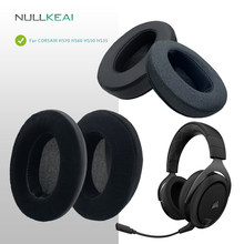 NULLKEAI Replacement Thicken Leather Velour Earpads For CORSAIR HS70 HS60 HS50 HS35 Headset Upgraded Comfy Memory Sponge Cushion