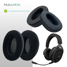 NULLKEAI zamiennik zagęścić skórzane welurowe nauszniki do zestawu słuchawkowego CORSAIR HS70 HS60 HS50 HS35 ulepszona wygodna poduszka z gąbki