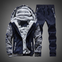 Tracksuit Men Winter Camouflage Hoodies Casual Hooded Warm Sweatshirts Male Thicken Fleece 2PC Jacket+Pant Moleton Masculino
