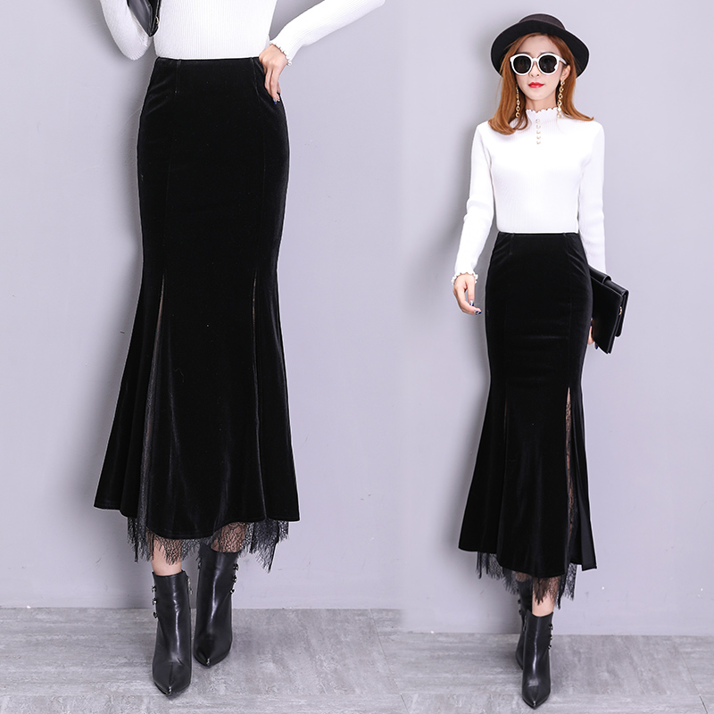 Free Shipping 2020 High Waist Long Maxi Skirts For Women Plus Size S-2XL Mermaid Style Skirts Spring And Autumn Velvet Lace Slit