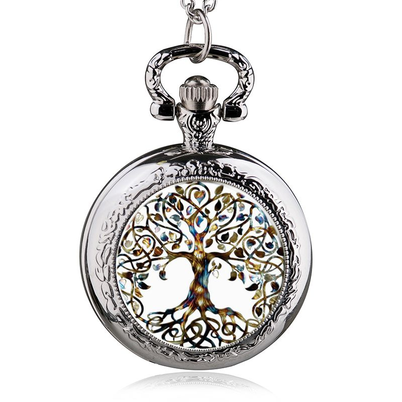 Classic Chain Necklace Pocket Watch Cabochon Glass Tree Of Life Pendant Vintage Quartz Fob Watch Men Women Best Gifts