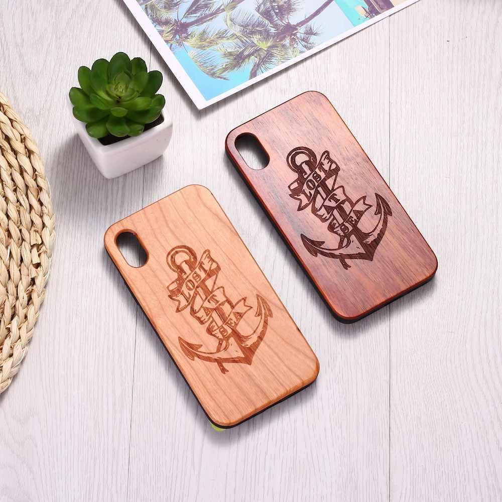 Grawerowane kotwica morze marynarz kochanka prawdziwego drewna przypadku telefonu Funda Coque dla iPhone 6 6S 6Plus 7 7 plus 8 8Plus XR X XS Max 11 Pro Max