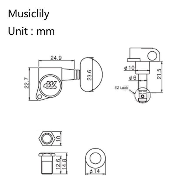 ويلكنسون 3R3L E-Z-LOK موالفة الغيتار رؤساء آلة ضبط أوتاد مفاتيح مجموعة للكهرباء أو الصوتية الغيتار ، أسود