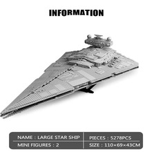 Star Toys Wars Compatible With Lepining75252 Imperial Star Destroyer 81098 Model Kits Building Blocks Kids DIY Toys Gifts moc 13289 star wars series cavegod ucs sandcrawler destroyer model building blocks rc bricks compatible starwars 05038 kid toys