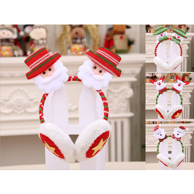 Winter Christmas Children Ear Muffs Warm Unisex Santa Claus Cute Plush Earmuffs Party Accessories New Years Xmas Wear Gifts