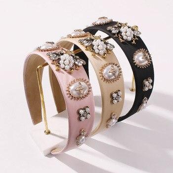 Diadema con perla de diamantes de imitación para mujer, diadema barroca de...