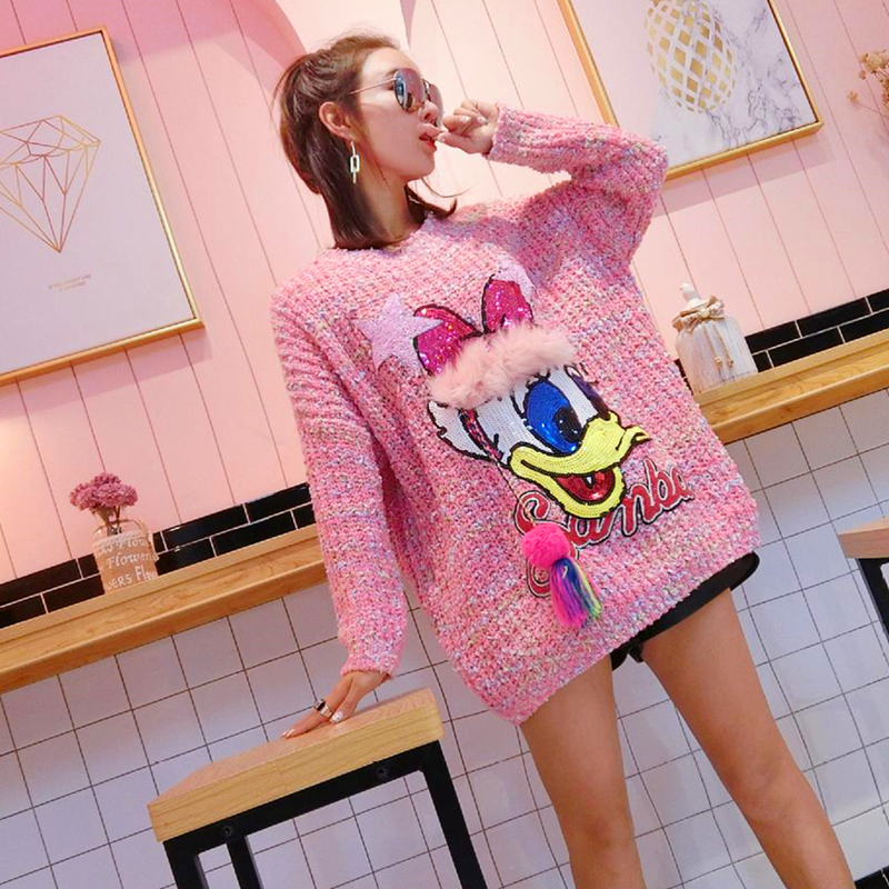 2019 Autumn And Winter New Street Fashion Chic Cartoon Patch Lazy Wind Sweater Loose Sequins Thick Versatile Sweater