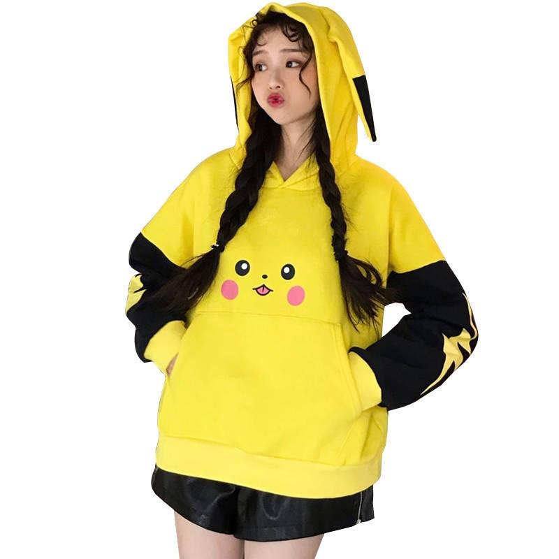 Pikachu Hoodies Women Japan Cute Sweatshirt Korean Harajuku Long Sleeve Sweatshirt Winter Harajuku Hoodie Streetwear Females