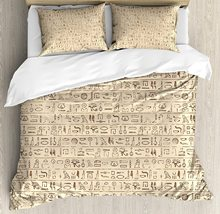 Egyptian Duvet Cover Set Old Dated Hieroglyphics Ancient Language Hand Written Style Borders with Worn Look Bedding Set cheap CHARM HOME None Sheet Pillowcase Duvet Cover Sets 100 Polyester 1 0m (3 3 feet) 1 35m (4 5 feet) 1 5m (5 feet) 2 0m (6 6 feet)