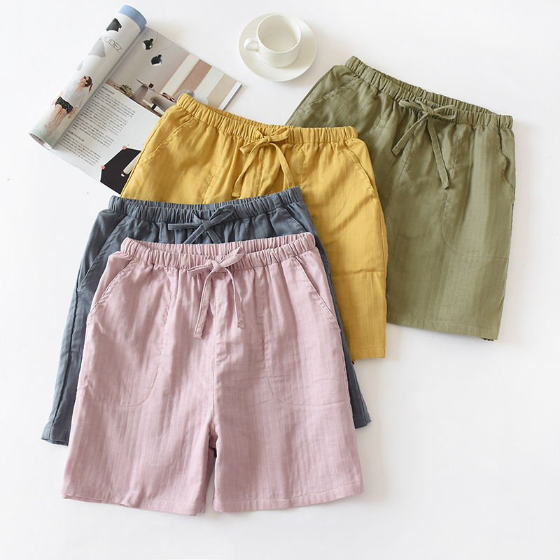 Japanese Simple Summer Women's Beach Shorts 100% Cotton Gauze Men's Thin Couple Shorts Home Pants Cotton Can Be Worn Outside