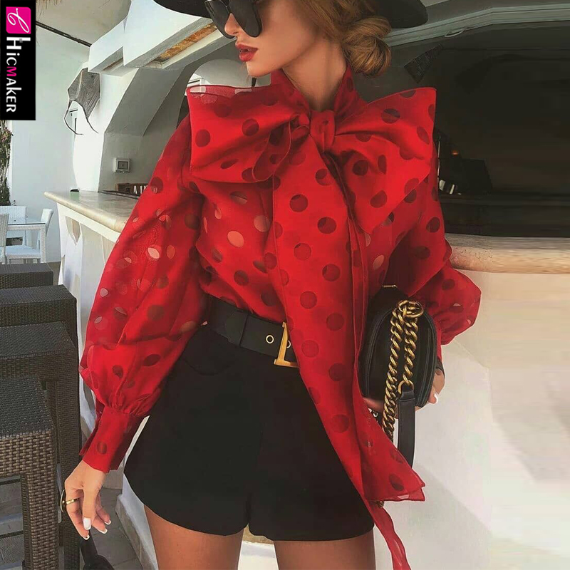 Dot Hollow Out Lantern Sleeve Knotted Blouse Women Chic Elegant Office Lady Street Wear Spring Fall Fashion Trends Top Shirt