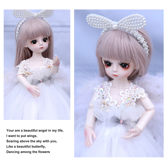 1/6 BJD Doll 18 Ball Jointed Dolls 30CM Girls Doll With White Dress Wig Shoes Makeup Toys For Girls Birthday Gifts Collection 3