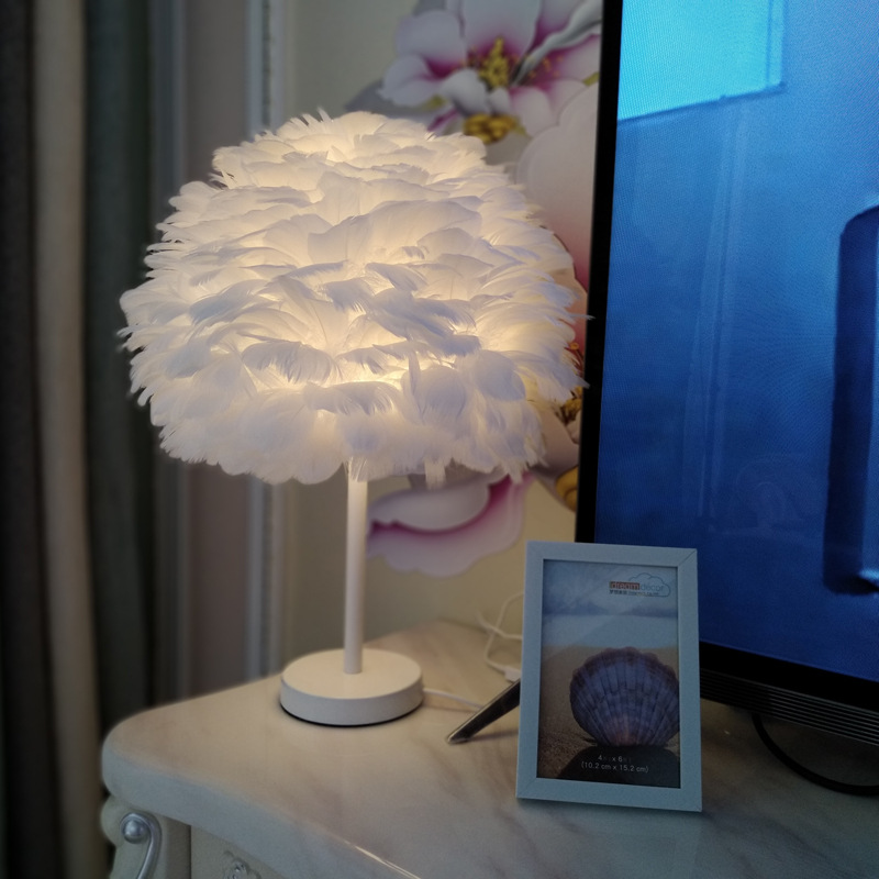 Beside Table Lamp Elegant Feather Lamp Beside Lamp Nightstand Lights Bedroom Living Room Wedding Birthday Desk Lamp E27 EU Plug