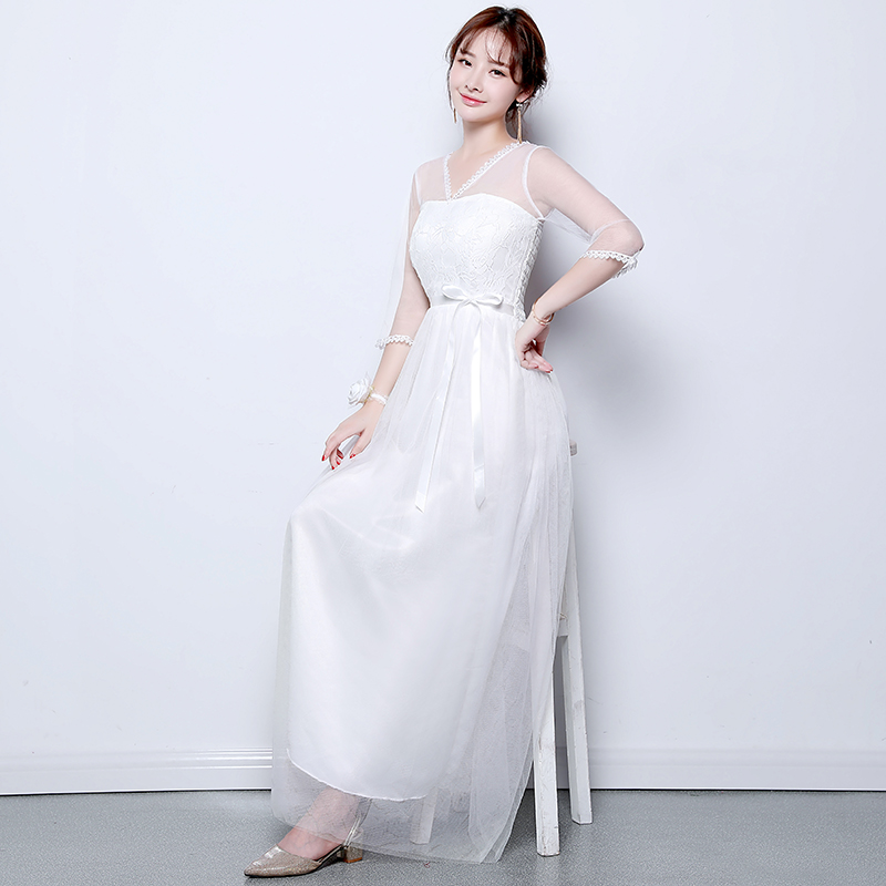 Plus Size Tulle Bridesmaid Dress Half Sleeves Elegant Dress Women For Wedding Party Sexy Prom Dress Host Vestido De Festa Longo