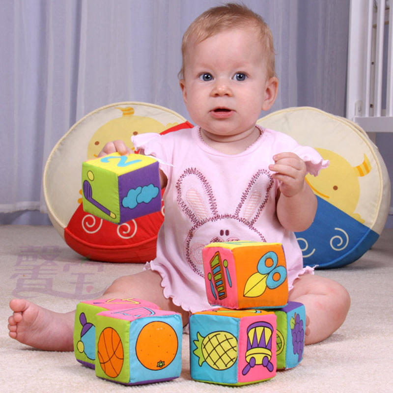 Baby Cloth Building Blocks Rattle Infant Baby Cloth Doll Soft Cubes Kids Preschool Educational Toys Baby Rattles Toy 0-12 Months